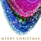 Fantastic Christmas wave design with snowflakes and glowing stars