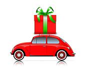 red car with present