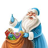 Father Frost holding bag with gifts