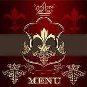 Menu design with crown and fleur de lis  in vintage style