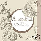 Vintage invitation card with roses