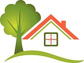 House tree for real estate logo