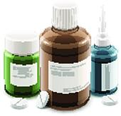 Bottles with medical drugs and pills