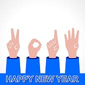 New year,2014 concept with finger