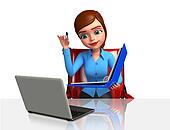 Office Girl with laptop