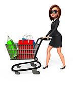 Business Woman with trolley