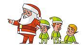 Santa pointing and elfs