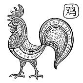 Chinese Zodiac. Animal astrological sign. cock.