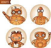 Steampunk robots iconset