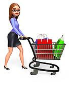 Office girl with trolley