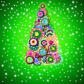 hippie christmas tree greeting card