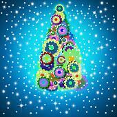cheerful Christmas tree greeting card