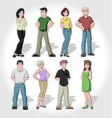 Group of cartoon people