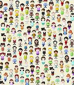 texture of funny cartoon people