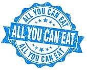 All you can eat blue grunge vintage seal