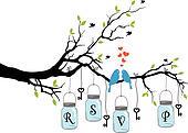 birds on tree with jars, vector