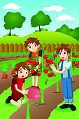 Kids planting vegetables and fruits