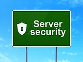 Safety concept: Server Security and Shield With Keyhole