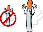 Sad cigarette in cartoon style