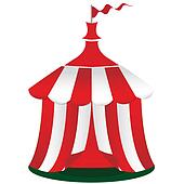 Red circus tent icon