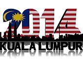 Kuala Lumpur skyline with 2014 Malaysian flag text illustration