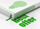 Finance concept: closed book with Green Light Bulb icon and text Best Offer on floor, white background, 3d render