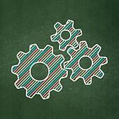 Web development concept: Gears on chalkboard background