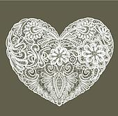 Heart shape is made of lace doily, element for Valentines Day or Wedding design.