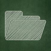Business concept: Folder on chalkboard background