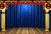 blue fabric curtain on golden stage