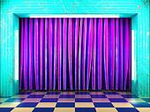 violet fabric curtain on stage
