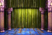 green fabric curtain on stage