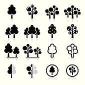 Trees, forest, park vector icons