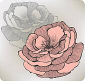 Wild rose flower, hand-drawing. Vector illustration.