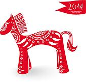 Chinese New Year of the Horse cartoon illustration