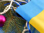 Ukraine flag with christmas decoration, new year card