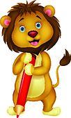 Cute lion cartoon holding red penci