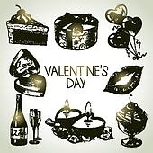 Set of Valentine's Day. Hand drawn illustrations