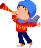 Little boy cartoon with trumpet