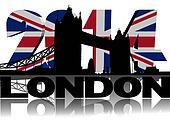 Tower Bridge London with 2014 British flag text illustration