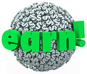 Earn Dollar Sign Sphere Making Money Work Career Income