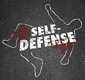 Self Defense Words Chalk Outline Body Defending Yourself Attack