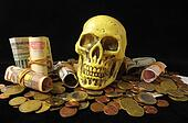 Death and Money Concept Skull with Currency