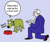 Dog suspicious of bad food doctor