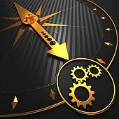 Cogwheel Gear Icon on Golden Compass.