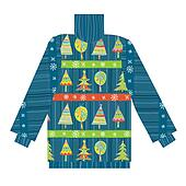 Christmas sweater knitted pattern with trees and snow
