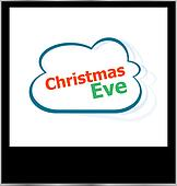 christmas eve word cloud on photo frame, isolated