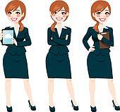 Brunette Businesswoman Full Body Poses