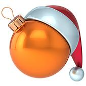 Christmas ball orange New Year