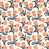 Ditsy floral pattern with small red tulips
